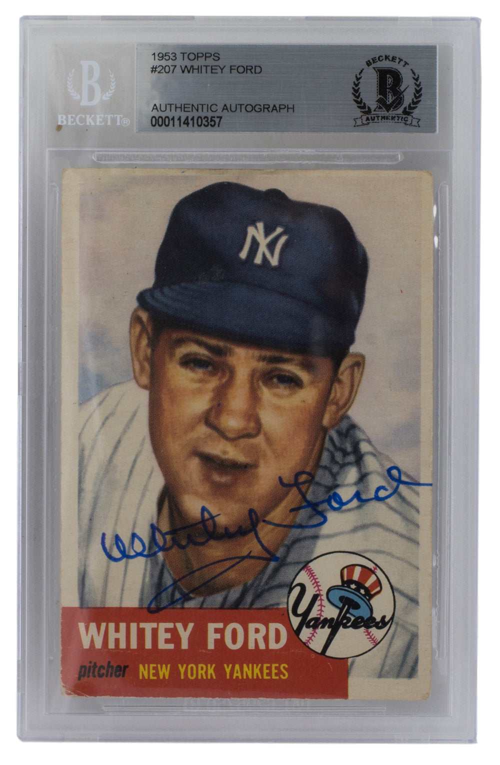 Whitey Ford Signed 1953 #207 Topps New York Yankees Baseball Card Slabbed BAS PSM-Powers Sports Memorabilia