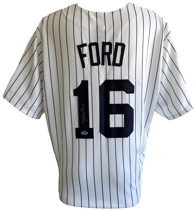 Whitey Ford Signed New York Yankees Majestic Pinstripe Jersey XXL PSA PSM-Powers Sports Memorabilia