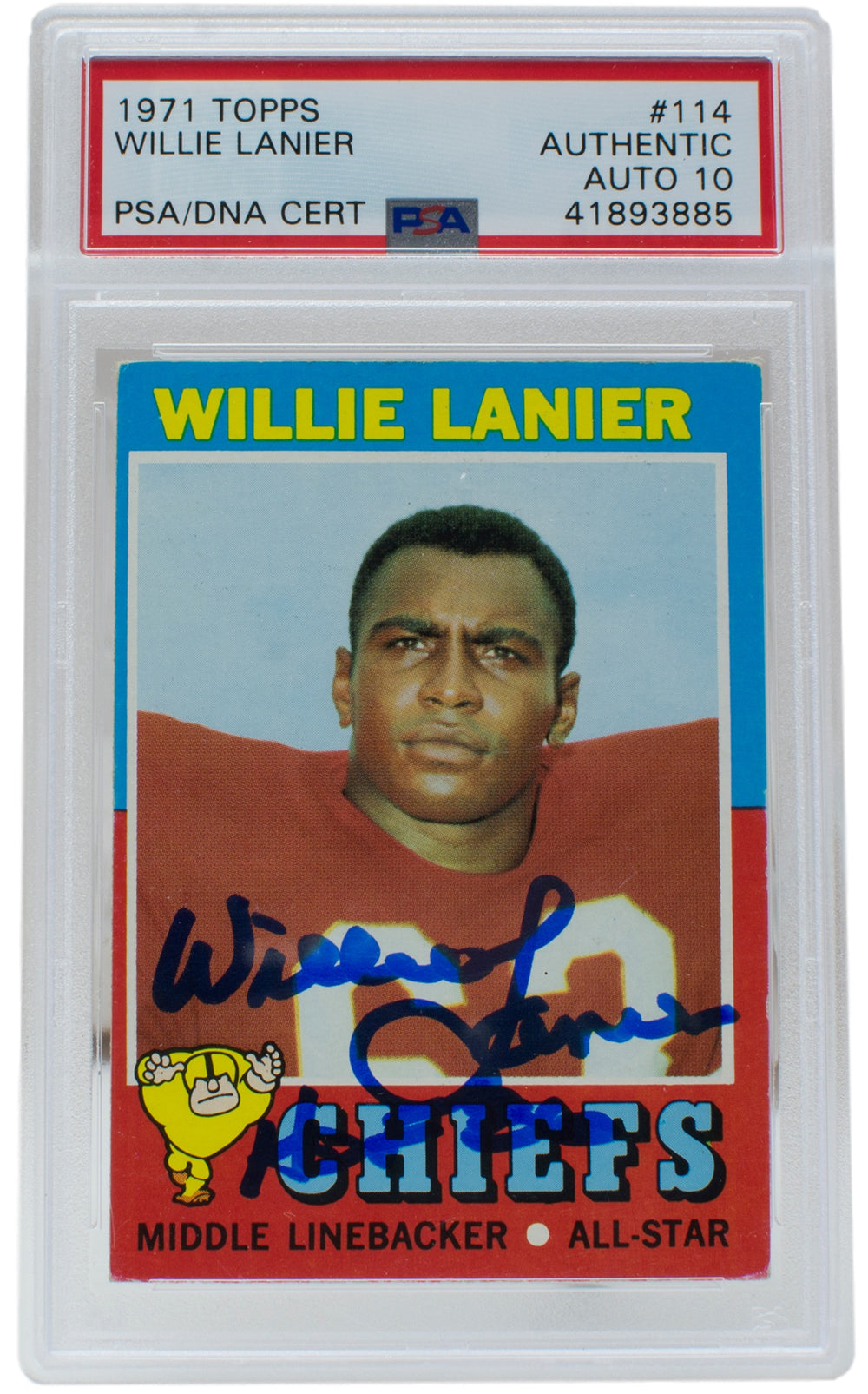 Willie Lanier Signed 1971 #114 Topps Chiefs Rookie Card Slabbed HOF 86 PSA/DNA PSM-Powers Sports Memorabilia