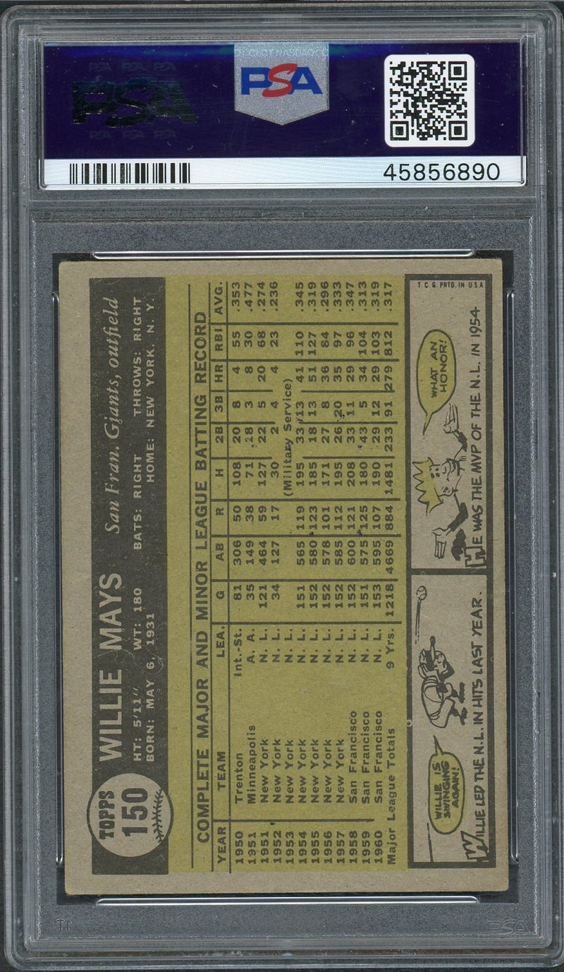 Willie Mays San Francisco Giants 1961 Topps Baseball Card #150 Graded PSA 4-Powers Sports Memorabilia