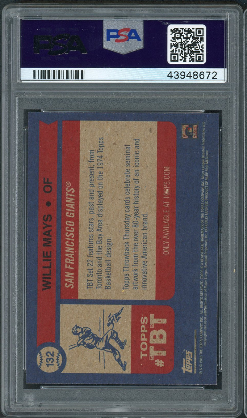 Willie Mays San Francisco Giants 2019 Topps Throwback Thursday Baseball Card #132 Graded PSA 10 GEM MINT-Powers Sports Memorabilia