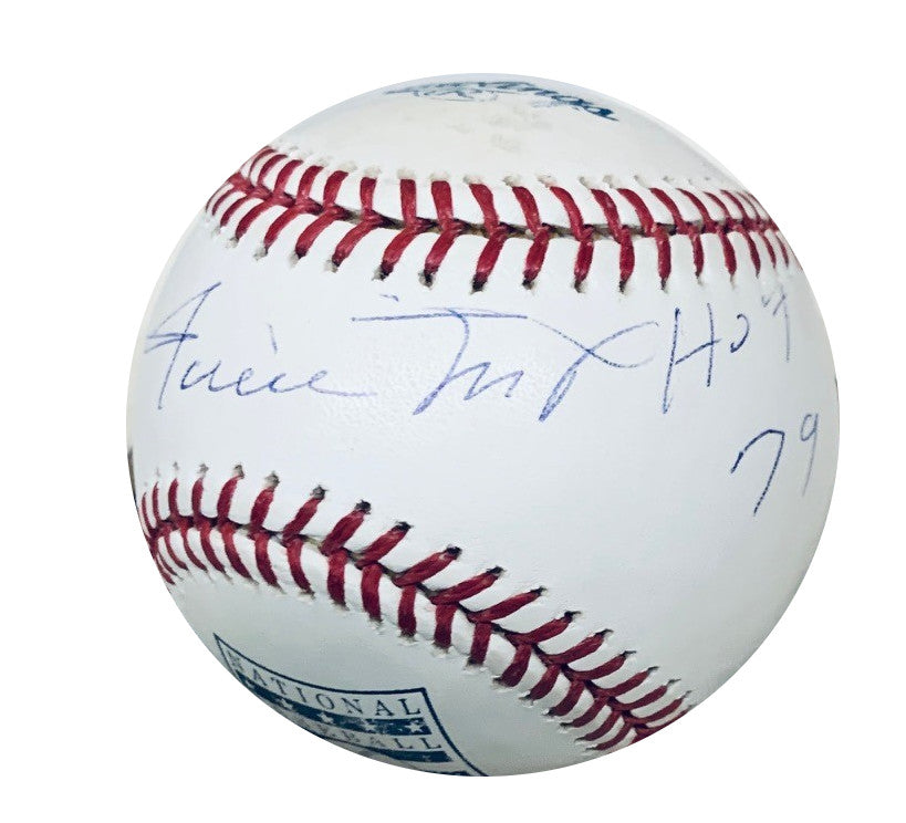 Willie Mays San Francisco Giants Autographed MLB Signed Baseball Hall of Fame HOF 79 Beckett JSA COA With UV Display Case-Powers Sports Memorabilia