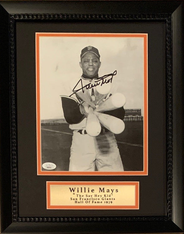 Willie Mays Autographed San Francisco Giants Signed MLB Baseball 8x10 Framed Photo JSA COA-Powers Sports Memorabilia