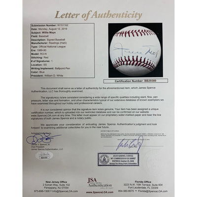 Willie Mays San Francisco Giants Autographed MLB National League Signed Baseball JSA COA 1-Powers Sports Memorabilia