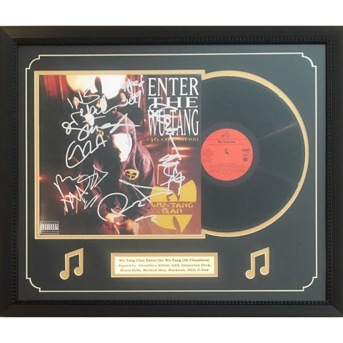 Wu Tang Clan Autographed Enter The Wu-Tang 36 Chambers Signed Rap Music Vinyl Album Framed 8 Signatures JSA COA-Powers Sports Memorabilia