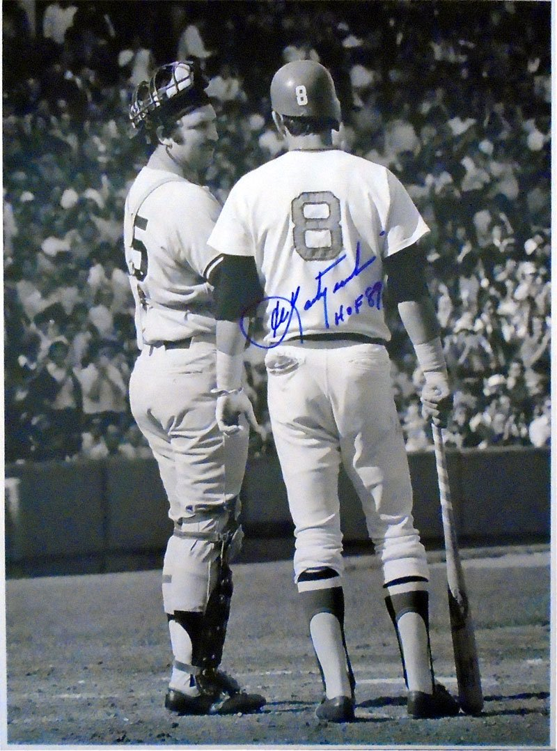 Carl Yastrzemski HOF 89 Autographed Standing with Thurman Munson 11x14 Photo PSM-Powers Sports Memorabilia