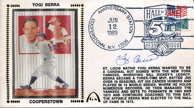 Yogi Berra Autographed Gateway First Day Cover (JSA) PSM-Powers Sports Memorabilia