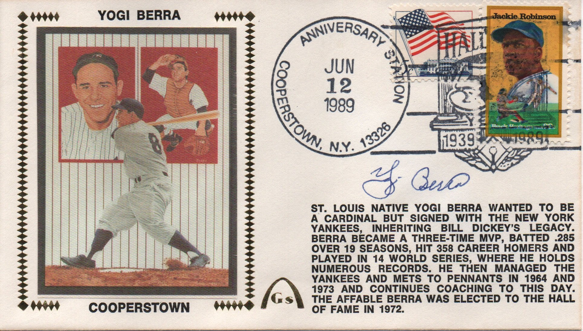 Yogi Berra Autographed June 12, 1989 First Day Cover (JSA) PSM-Powers Sports Memorabilia