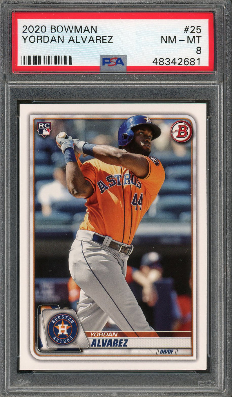 Yordan Alvarez Houston Astros 2020 Bowman Baseball Rookie Card RC #25 Graded PSA 8-Powers Sports Memorabilia