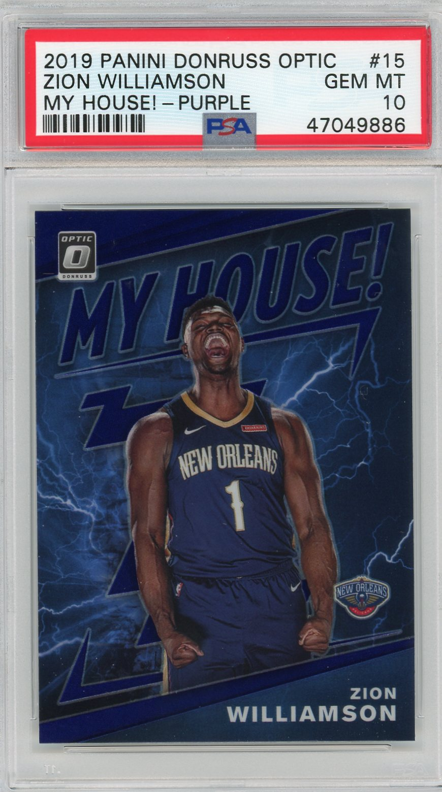 Zion Williamson New Orleans Pelicans 2019 Panini Donruss Optic My House Prizm Basketball Rookie Card RC #15 Graded PSA 10-Powers Sports Memorabilia
