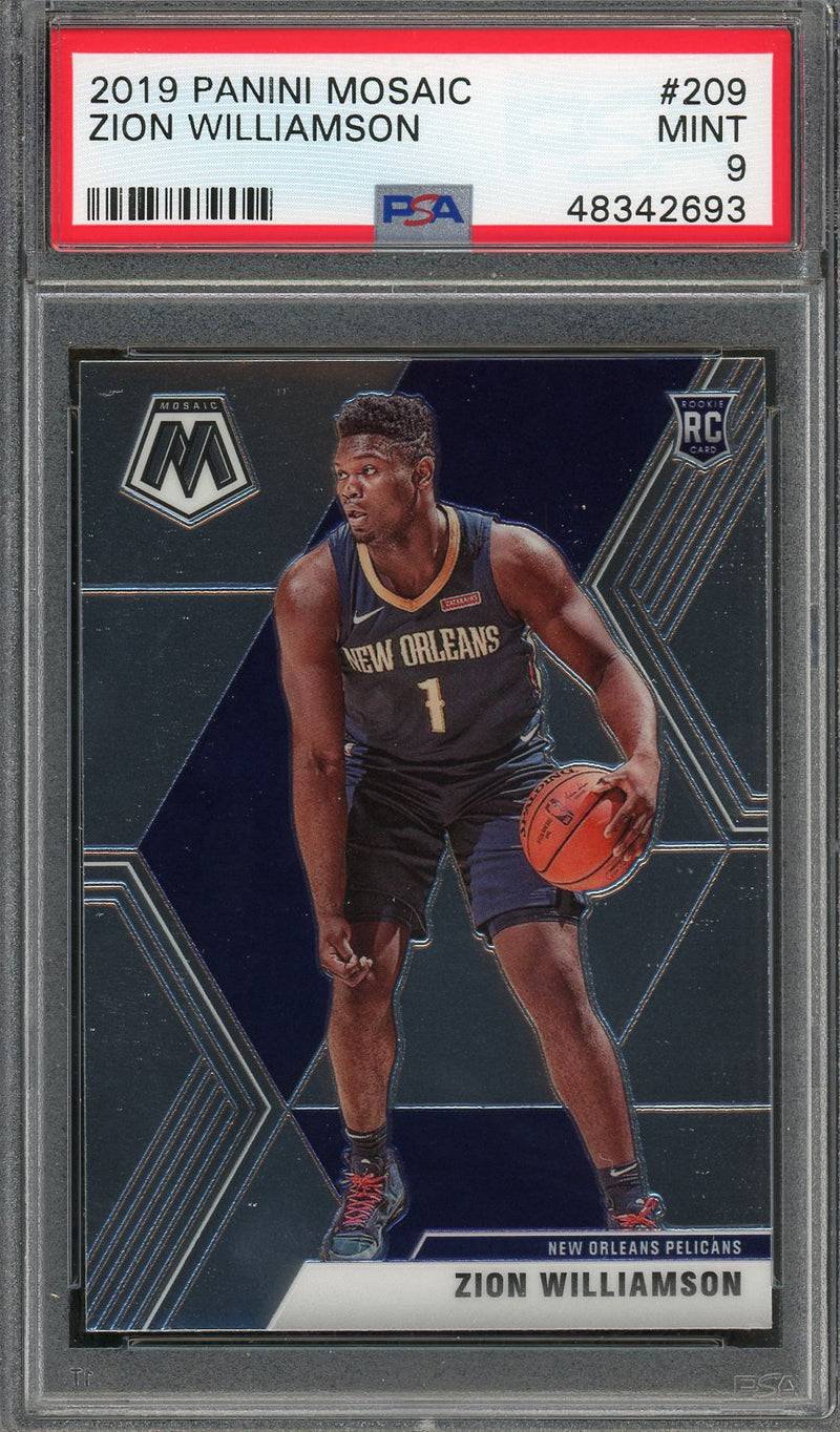 Zion Williamson New Orleans Pelicans 2019 Panini Mosaic Basketball Rookie Card RC #209 Graded PSA 9 MINT-Powers Sports Memorabilia