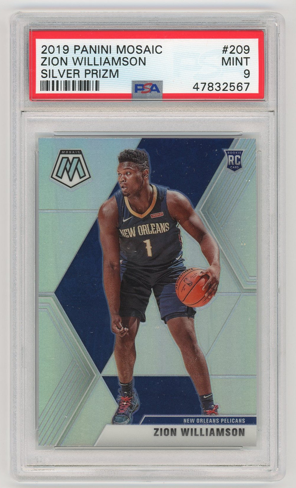 Zion Williamson New Orleans Pelicans 2019 Mosaic Silver Prizm Basketball Rookie Card RC #209 Graded PSA 9 MINT-Powers Sports Memorabilia