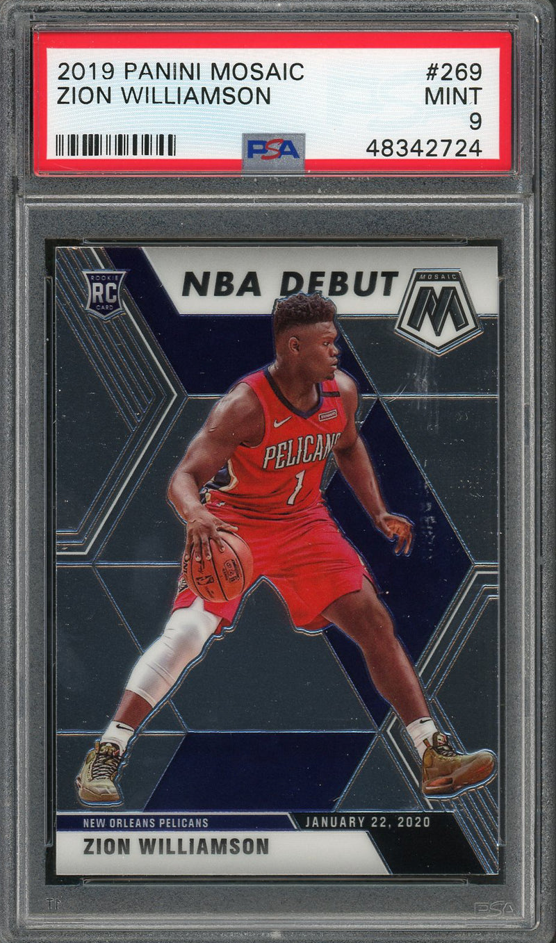 Zion Williamson New Orleans Pelicans 2019 Panini Mosaic NBA Debut Basketball Rookie Card RC #269 Graded PSA 9 MINT-Powers Sports Memorabilia