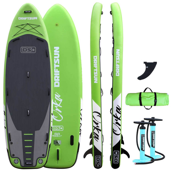 Driftsun Orka ISUP 12' Green front, back, side, and rolled up with fin and pump