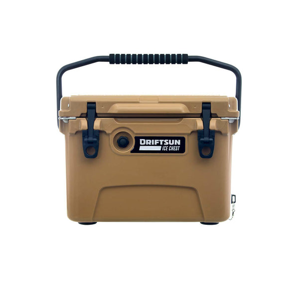 Front exterior view  of Driftsun, 20 Quart Performance Cooler with Quick Clip Latches in Tan Color/Close Top Lid.