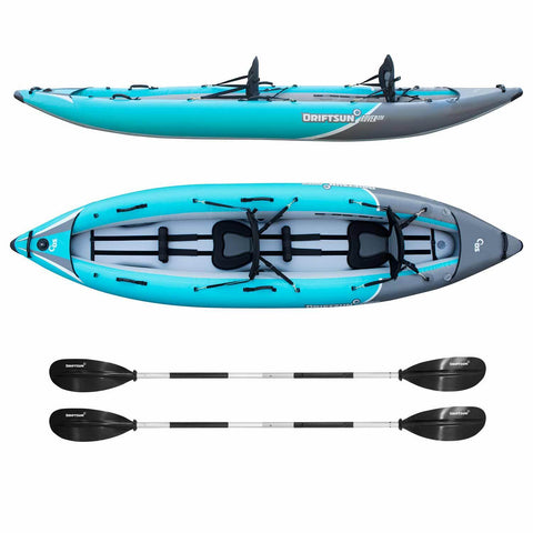 Top View Sideview Rover 220 Inflatable Tandem Kayak Adjustable Aluminum Paddles With Ergonomic