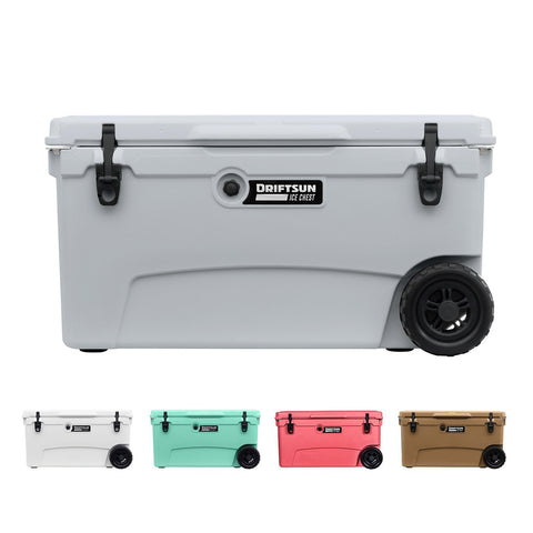 Driftsun 70 Quart Performance Rolling Ice Chest- Insulated Rotomolded Cooler