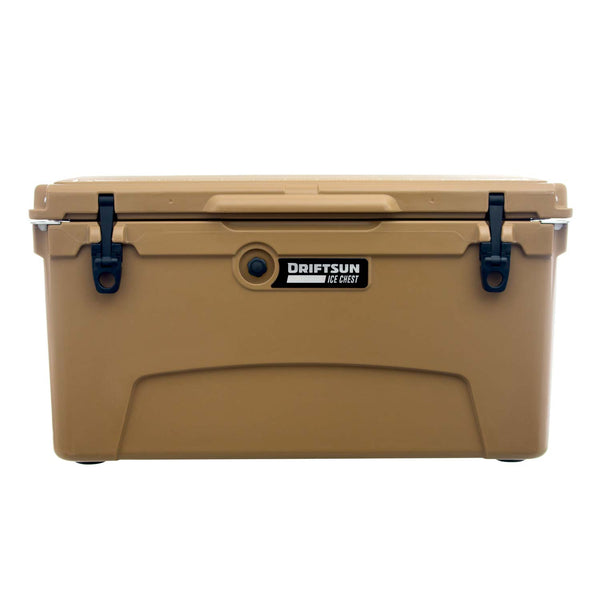 Front view of Driftsun, 75-Quart  Ice Chest | View of Quick Clip Latches in Tan Color