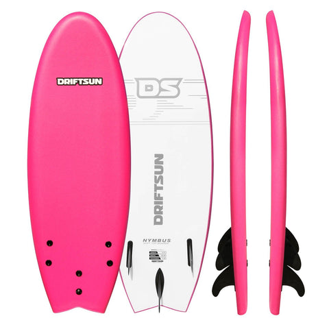 Driftsun Nymbus Foam Surfboard, EPS Foam Core, Includes 3 Removable Fins