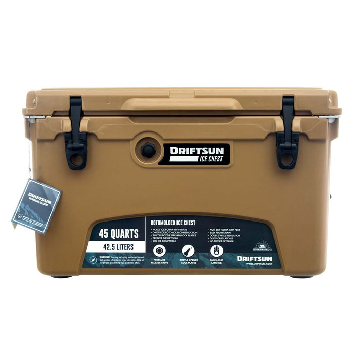 Tan ice chest with full retail packaging