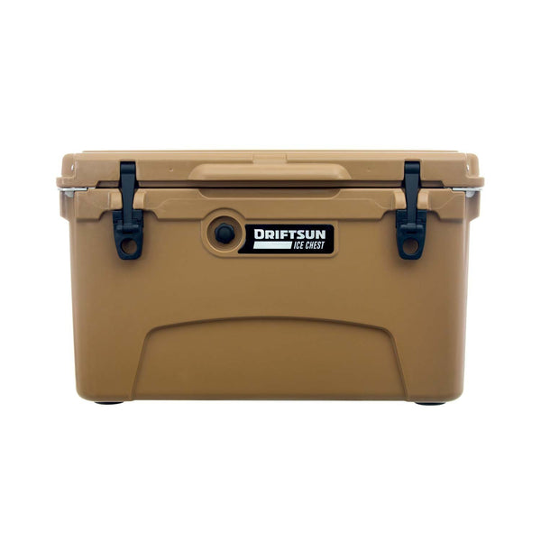 Front profile view of 45 Quart Performance Cooler with Quick Clip Latches in Tan Color