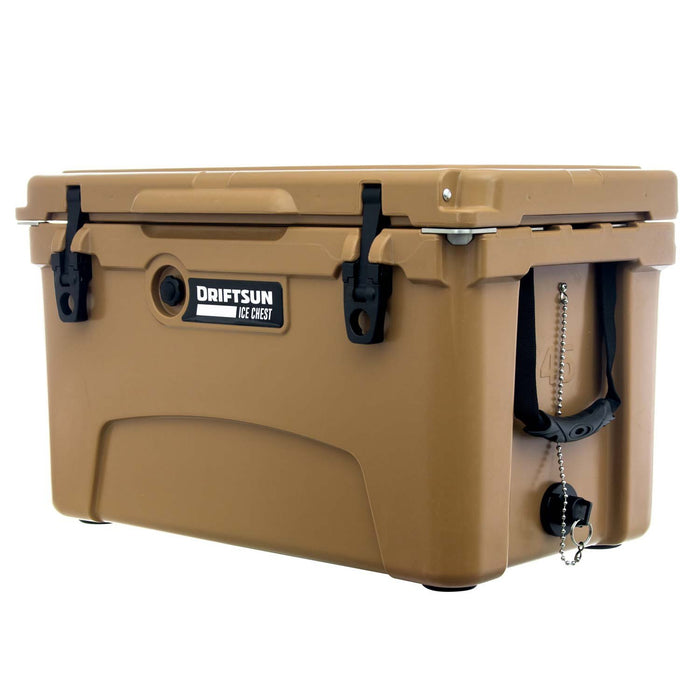 Side Profile view of Driftsun Rotomolded Ice Chest/, Carry Handles and Drain Plug