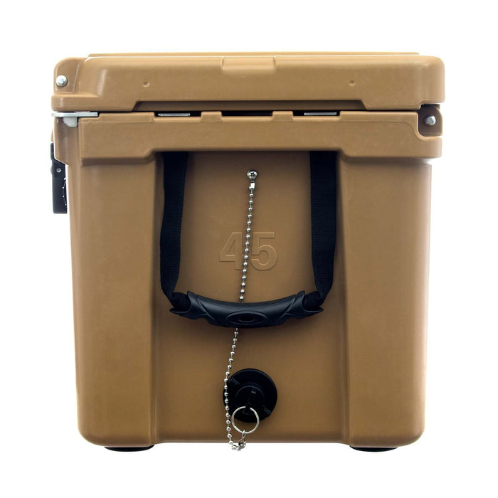 Side of 45 qt. cooler with military grade handles and drain plug