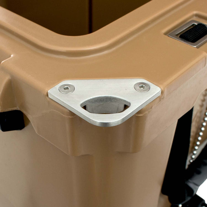 Close Up of Corner Bottle Openers on 45 Quart Ice Chest