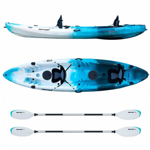 Top/Side view Complete  Teton 120 Tandem Kayak Package