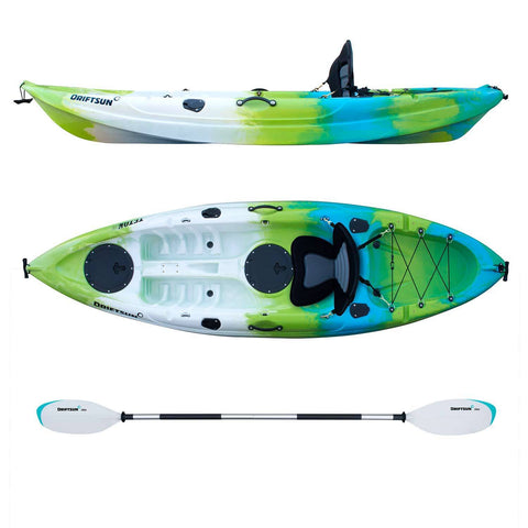 Top Side View Of Complete Teton 90 Single Person Kayak Package