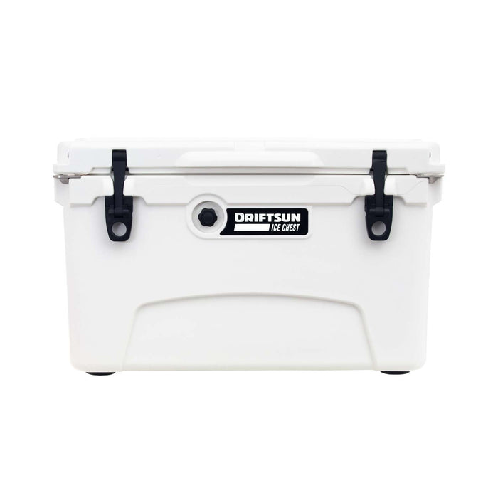 Rotomolded cooler with quick clip latches and pressure release valve