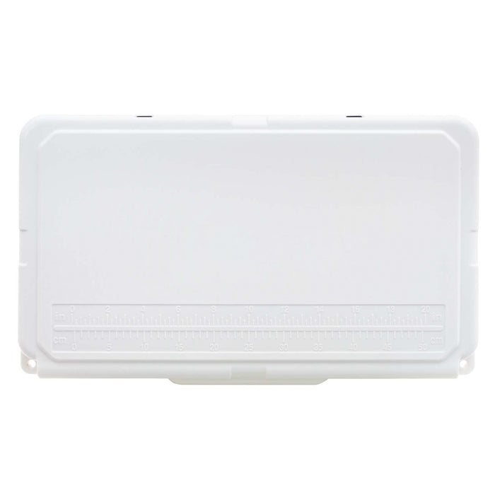 White cooler lid with fish ruler