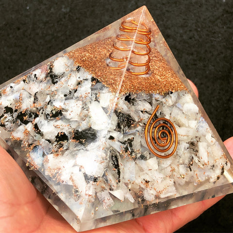 Rainbow Moonstone Orgone Crystal Pyramid