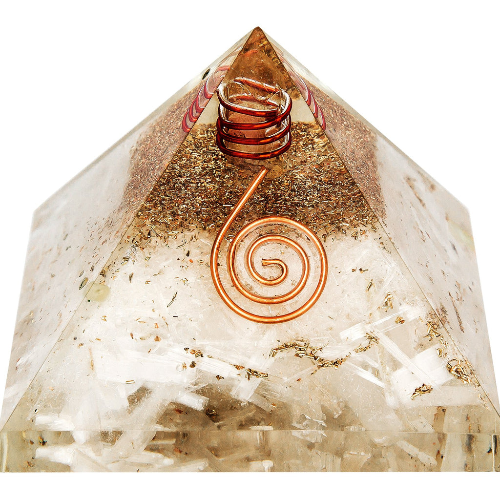 Large Selenite Orgone Crystal Pyramid