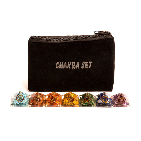 Image of Chakra Set Mini Orgone Pyramids
