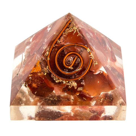 Image of Mini Orange Carnelian Orgone Crystal Pyramid