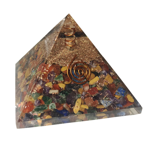 Image of Mix Chakra Orgone Crystal Pyramid