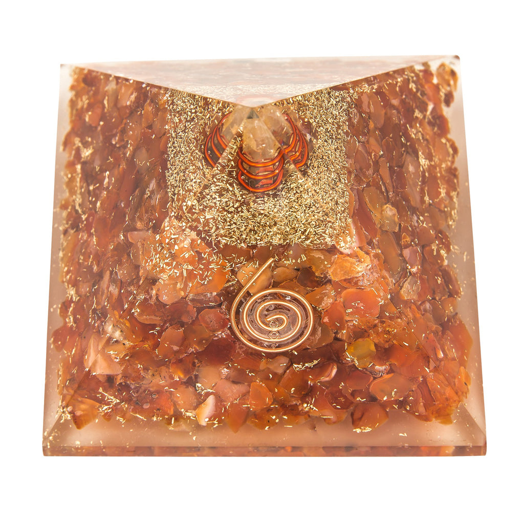 Orange Carnelian Orgone Crystal Pyramid