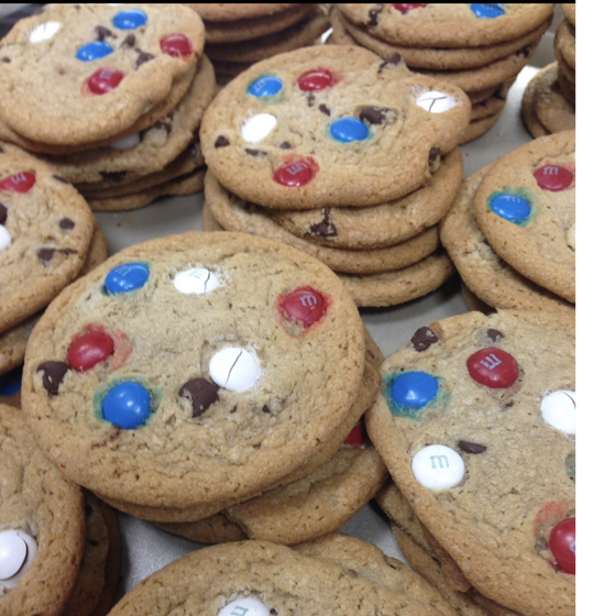Red/White/Blue M & M Cookies