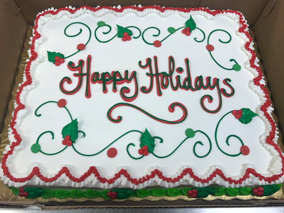 Happy Holidays, Traditional Sheet Cake Design