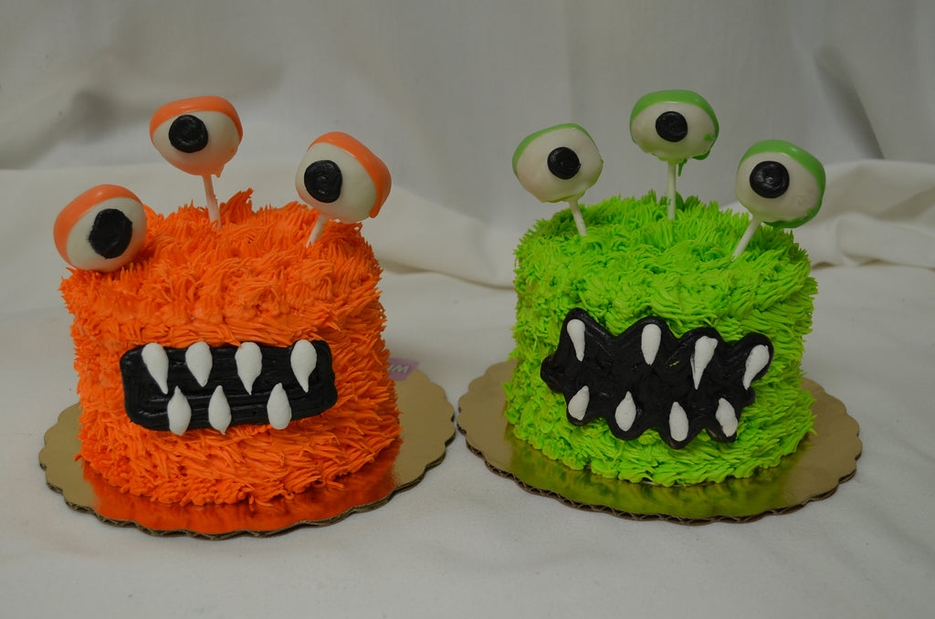 "5"" Furry Monster Cake with Truffle Pop Eyeballs"