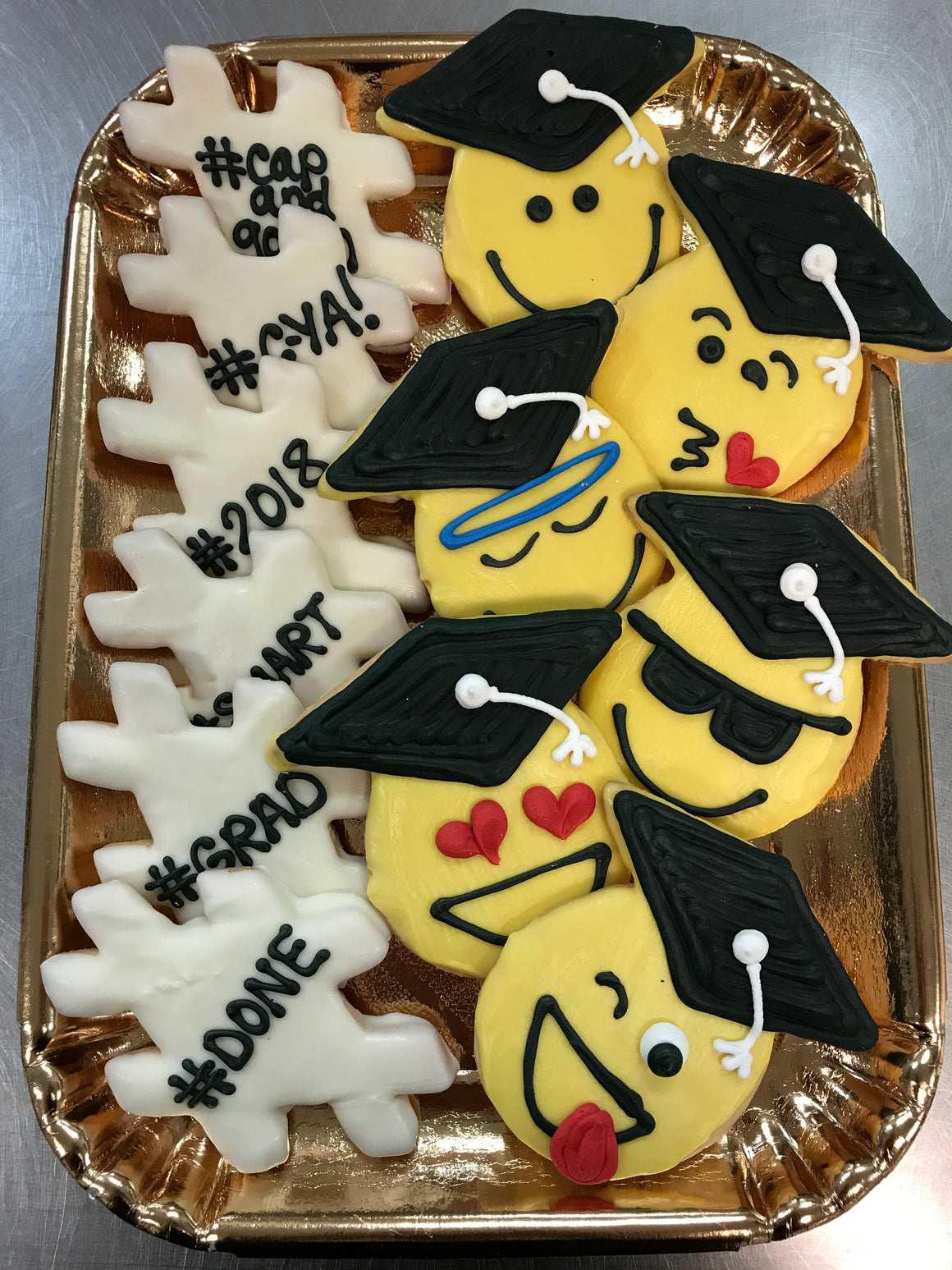 Emoji Grad and Hashtag Grad Cookies