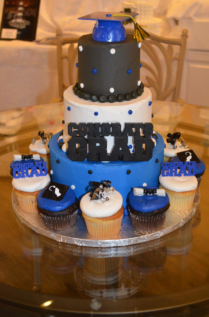 "Graduation Tower Cake 8-6-4"" (serves 25-30 + 12 cupcakes)"
