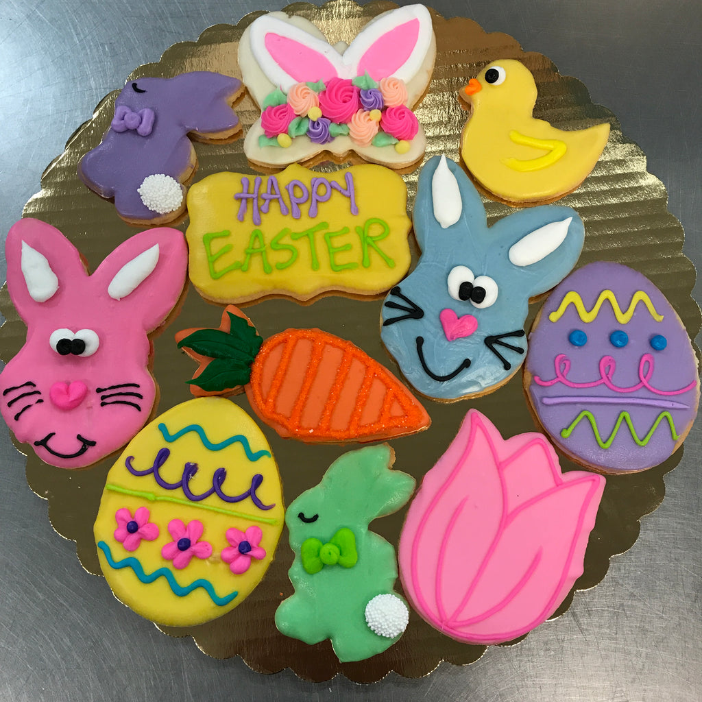 Happy Easter Decorated Cookie Tray