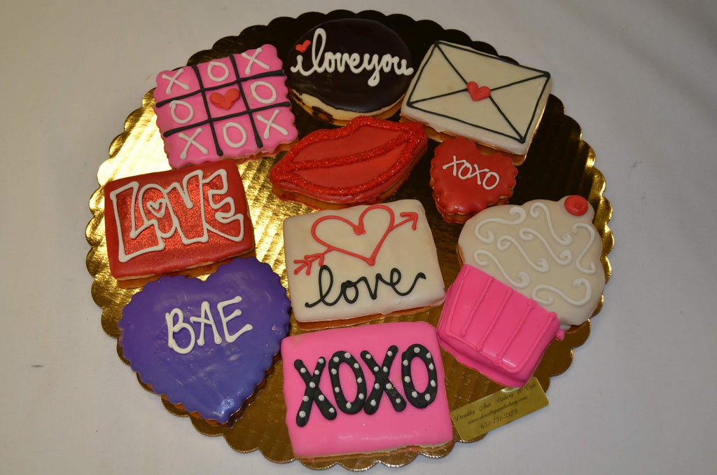 Happy Valentine's Day Decorated Cookie Tray