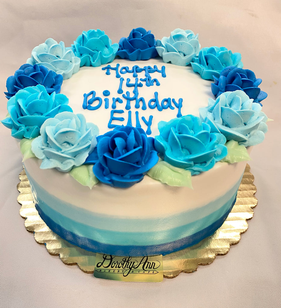 "Blue Rose Wreath Cake with Smear Side Design 8"" Round"