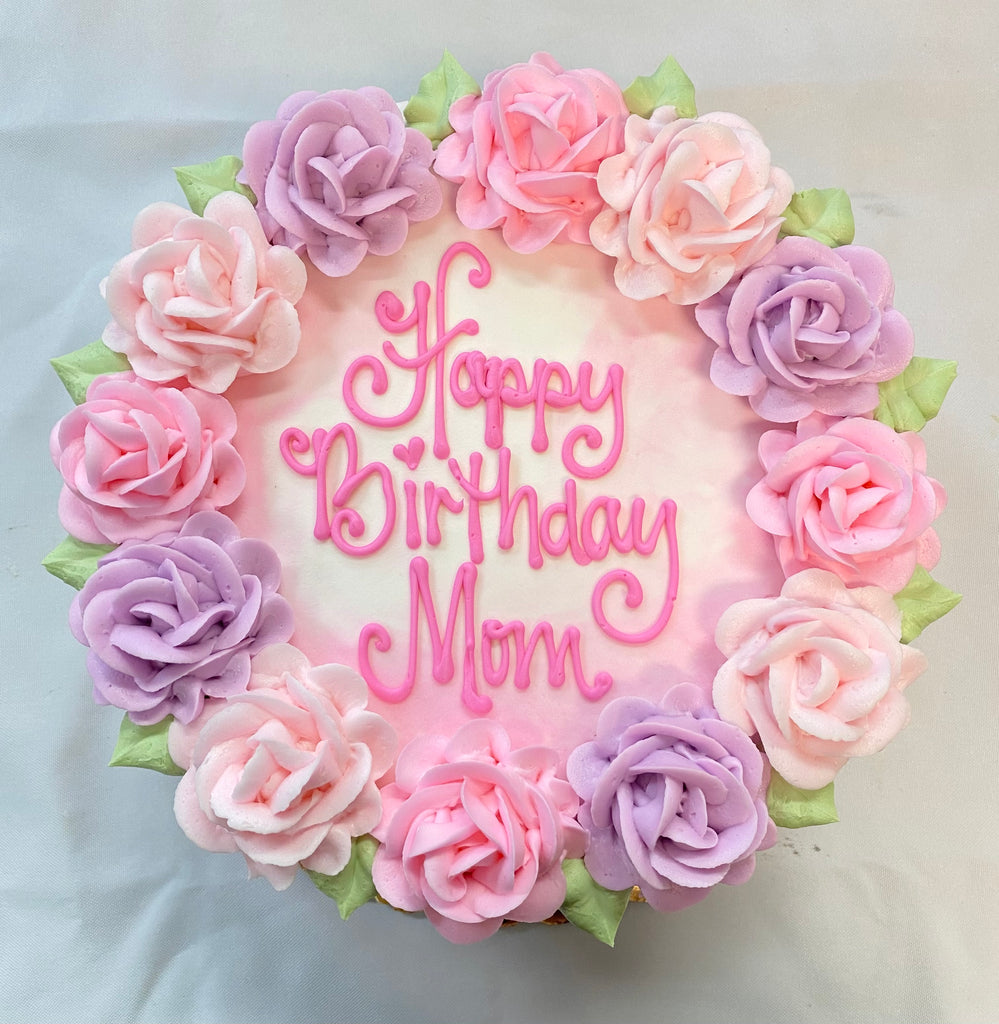 "Pink Rose Wreath Cake with Smear Side Design 8"" Round"