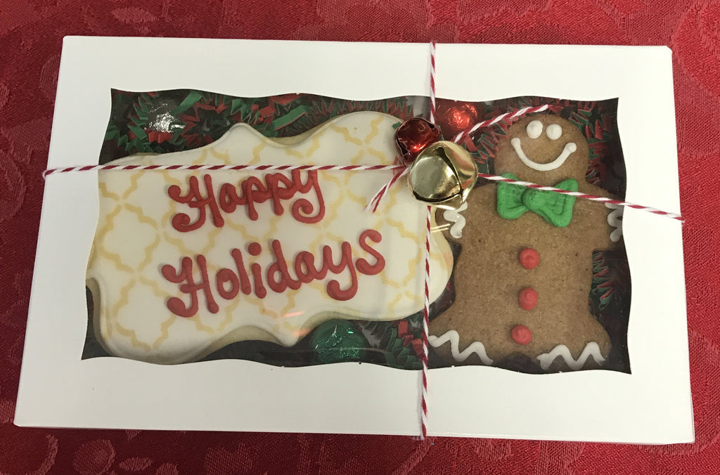 "Gingerbread Man says ""Happy Holidays"" Gift Cookie box"