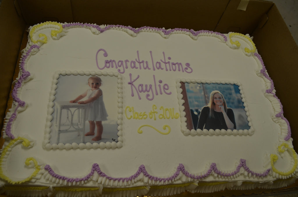 """Then and Now"" Edible Image Graduation Cake (1/2 sheet serves 36-48)"