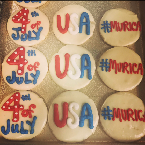 4th of July Decorated Round Cookies